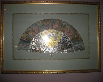Carved Georgian Fan Shadowboxed Fan, Ornate VICTORIAN Fan Shadowboxed Abalone Mother of Pearl Scenic Fan Gold Leaf
