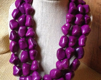 TOTO P - Purple Turquoise Howlite and Bone Beaded Necklace Chunky Tribal Statement Boho Hippie