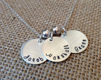 Personalized Kids Name Necklace, Custom Mom Necklace, Grandma Necklace, Birthstone Necklace, Stamped Evermore