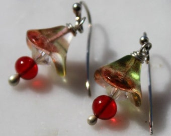 Handcrafted sterling earrings with Vintage Swarovski Crystal- Czech 3 petal glass flower-siam red glass-handmade sterling earwires by Reneux