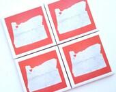 Oregon State Art Print Ceramic Tile Drink Coasters – I Heart Portland -- Set of 4 Red