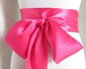 Hot Pink Satin Ribbon Sash / Ribbon Sash / Satin Bridal Sash /  Bridesmaid Sash / Hot Pink