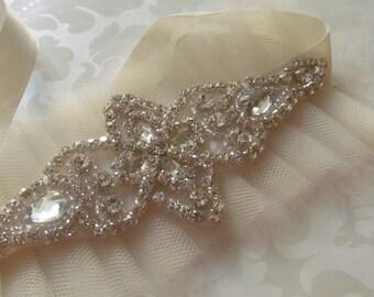 Bridal Cuff / Tulle Bracelet /Rhinestone Cuff /  Krystal