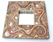 Sold, Beachcomber Mosaic spiral commissioned mirror, shells, sea glass and sea pottery