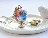 Nous allons voyager le monde Globe collier - Miniature 3D Globe mobile grand télescope Navigator pendentif
