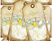 INSTANT DOWNLOAD Digital Collage handrawn babybasket illustration babyshower on tags
