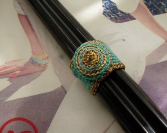 PrimiTive Folkart Turquoise & Gold Crochet Band Ring  TheBeaconHillCollect  We Ship Internationally