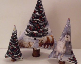 Primitive Folkart Set of 3 Woodland Trees Cake Toppers, Decorations Beaconhillcollectibles  We Ship Internationally