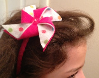 bubble gum pinwheel, felt headband