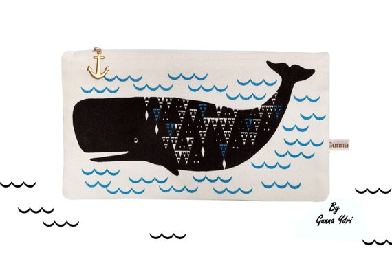 Scandinavian geometric whale triangle Coin Purse make up bag white cotton wave blue anchor