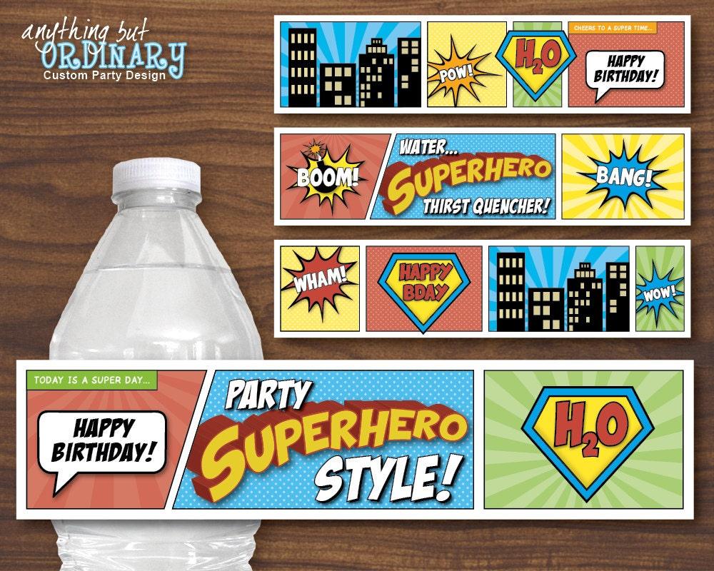 Superhero Water Bottle Labels DIY Comic Book by ABOcustomDesign
