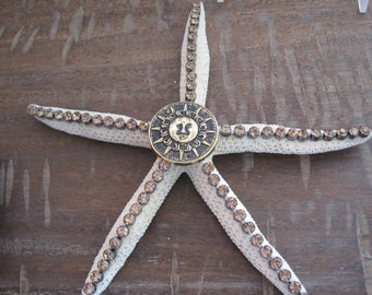 Embellished Starfish - Bronze Rhinestone With Sun Starfish - Starfish Ornament  -Decorated Starfish  - Coastal Home Decor - Beach Wedding