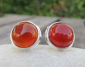 Round Carnelian Stud Earring- Smooth Carnelian Post Earring- Sterling Silver Earring- Orange Red Earring- Classic Simple Earring