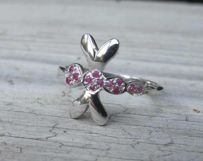 Dragonfly Ring- Silver Dragonfly Ring- Silver RIng- Rings- Ruby Ring- July Birthstone Ring- Dragonfly- Stone Ring- Red Stone Ring