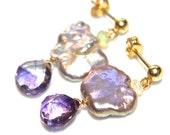 Moss Amethyst Earrings Pearl Cloud Earrings Radiant Orchid Earrings Pearl Earrings Amethyst Jewelry February Birthstone Cloud Pearl Jewelry