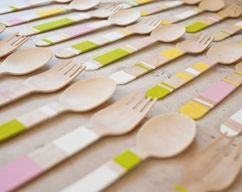 30 / 60pcs Wooden Utensils,Crafting Spoons Forks Knives Weddings Parties Banquets Disposable Wooden Cultery Utensils(WU)