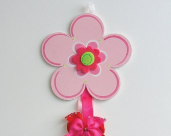 Pink Flower Barrette Holder