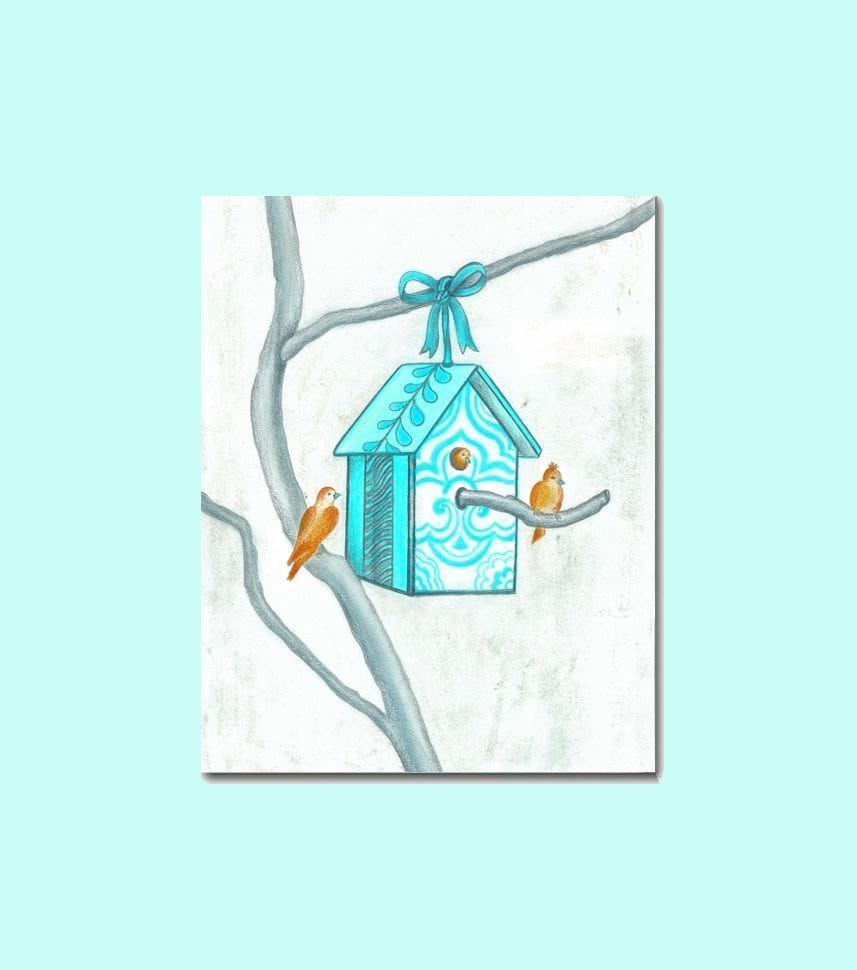 Tiffany Blue Wall Paint: Tiffany Blue Nursery Art Baby Birds House Wall Art By