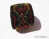 Crochet cuff bracelet hand made with glass beads, womans jewelry, beaded bracelet, goth bracelet