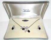 Vintage Star-Art Sterling and Onyx Necklace and Earrings Screw on Demi Parure