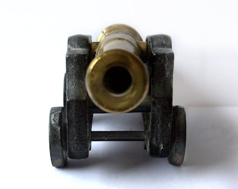 Vintage Cannon Commemorative marked 1796 Desk Decor / Heavy Paper Weight / Bookend Cast Iron and Brass