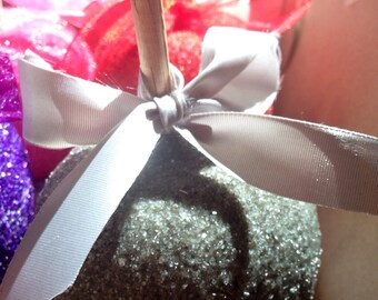 Silver Grey Gray GlamApples Custom Candy Chocolate Or Caramel Apples Personalized Party Favors Glitter Mitzvahs, Carnivals, Weddings