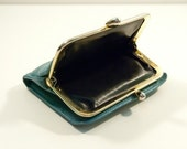 LOVELY Blue Kiss Lock Purse, real leather, something blue
