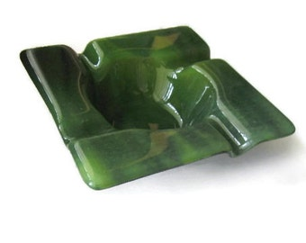 Cigar ashtray - fused glass - forest green marbled