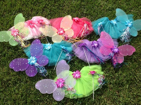 6 Winx Club Fairy Wings, Tutu, Fairy Wands,Fairy Party Favors, Fairy Costume, fairy Wings, Fairy Princess Birthday party Favors