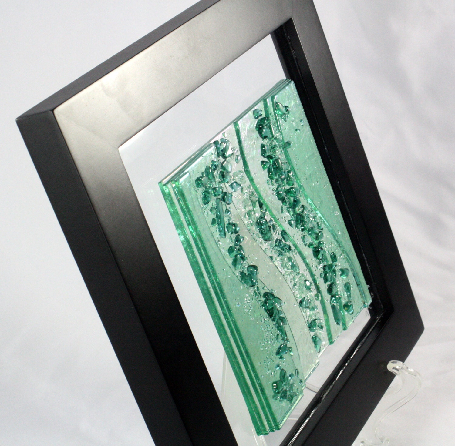 Wall Art Fused Glass : Fused glass wall art sea green waves made to order