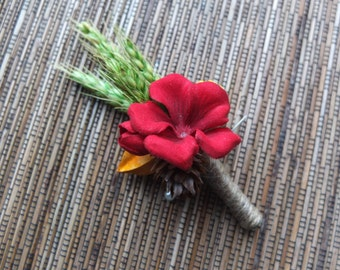 Rustic Boutonniere, Red Flower & Wheat Boutonniere, groomsman Boutonniere