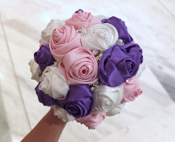 Bridal Bouquet Out Of Ribbons : Satin rose bouquet ribbon purple pink ivory
