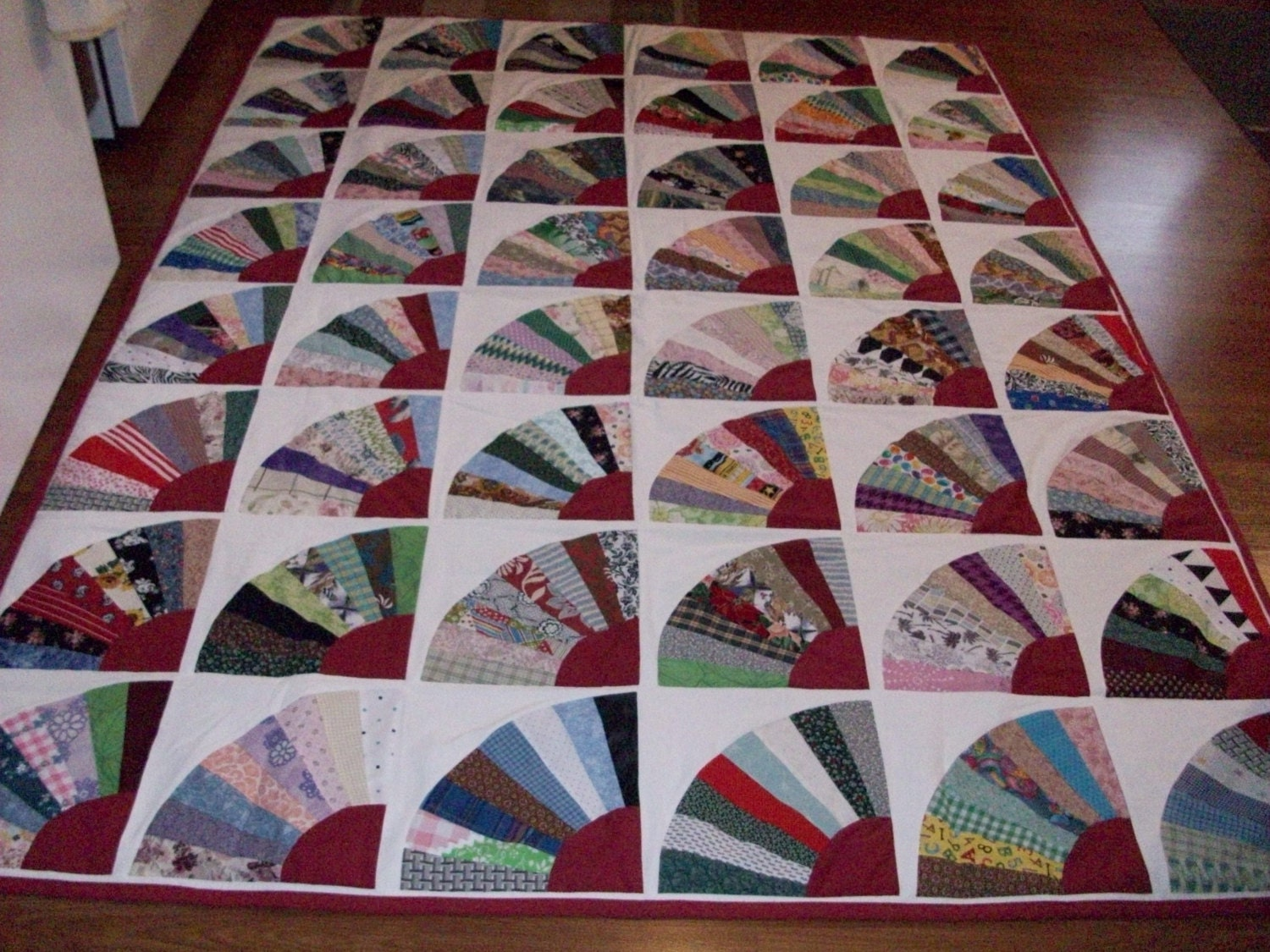 Quilt Pattern For Grandmother S Fan : New handmade grandmothers fan quilt 90x68
