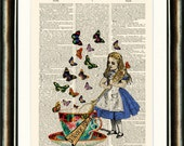 Alice in Wonderland Drink Me Upcycled vintage book page print on a late 1800s Dictionary page Buy 3 get 1 FREE