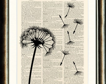 Dandelion Seed head 1- vintage book page print image on a page from an Upcycled 1800s Dictionary Buy 3 get 1 Free.