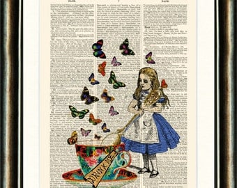 Alice in Wonderland Drink Me Upcycled vintage book page print Dictionary page Wall Art Buy 3 get 1 FREE