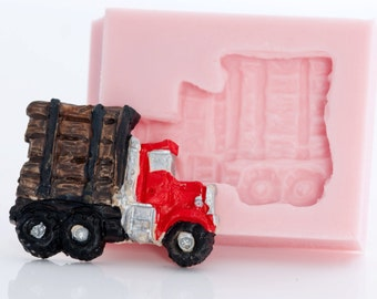 Log Truck Silicone Mold - Mould for Polymer Clay, Resin, Soap, Wax, Plaster, Paper, Metal, flexible mold (895)