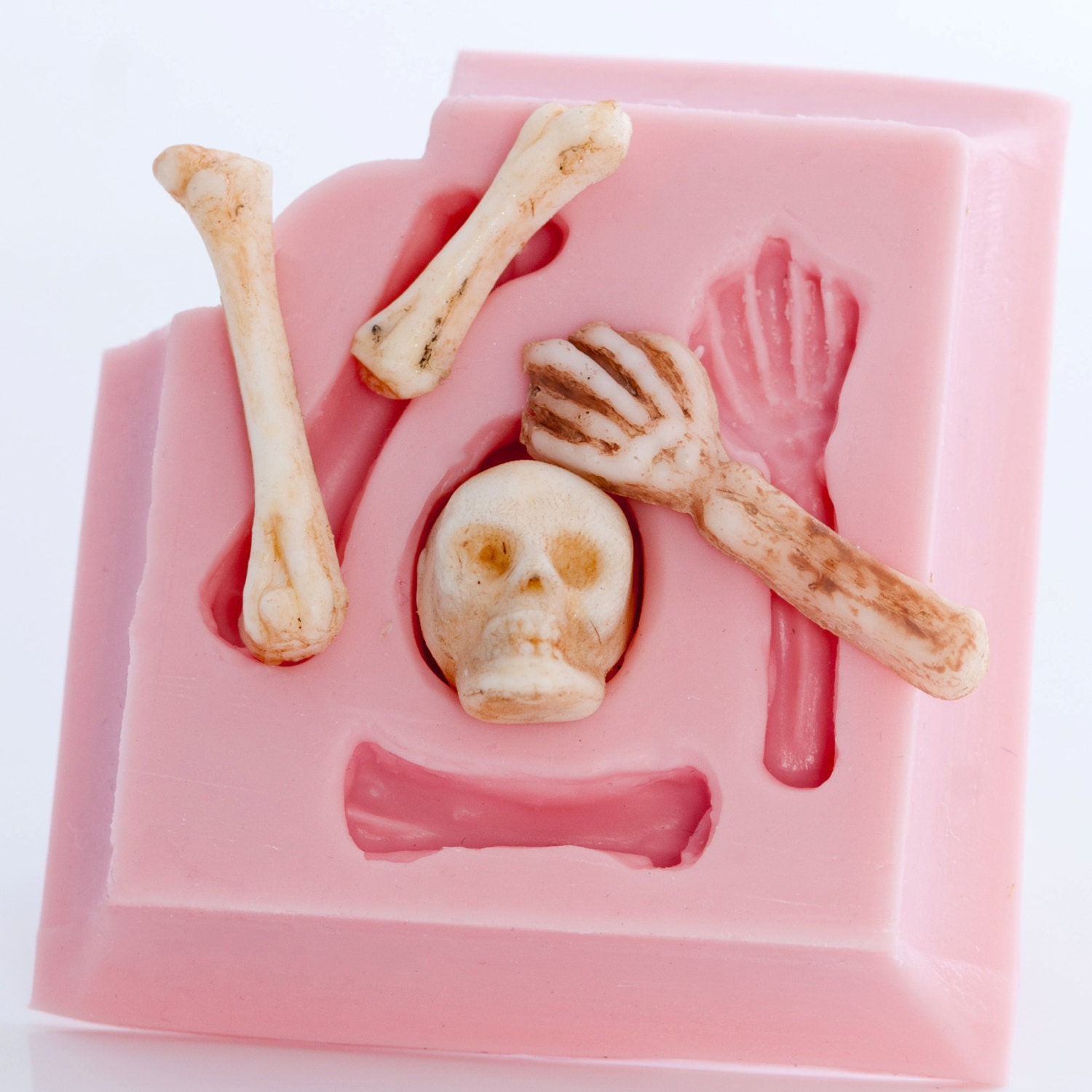 Skeleton fondant mold skull and bones food mold candy