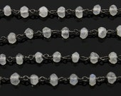 Rainbow Moonstone  Wire wrapped Gemstone Rosary Chain, 3x2mm Faceted Rondelles 925 Oxidized Sterling Silver, Sold By the Foot.,(GMCOX-MNS01)