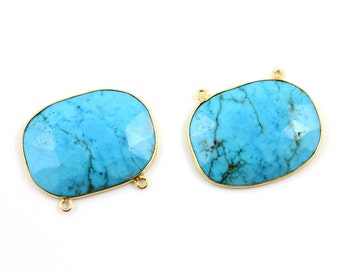 Natural Turquoise Bezel Fancy Shape Component, 24K Gold Vermeil Over Sterling Silver,  31x24mm, 1 Piece, (TQFCYT05)
