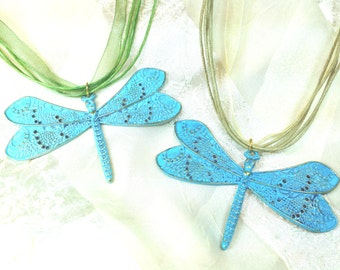 Graceful Dragonfly Ribbon Necklaces