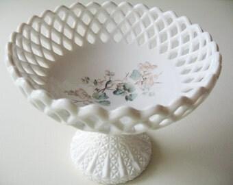 Vintage Milk Glass Bowl, Hand Painted Compote, Pedestal Bowl