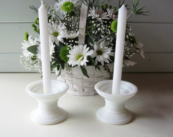 Milk Glass Candle Holders, Wedding Decor,  Shabby Chic Candle Sticks