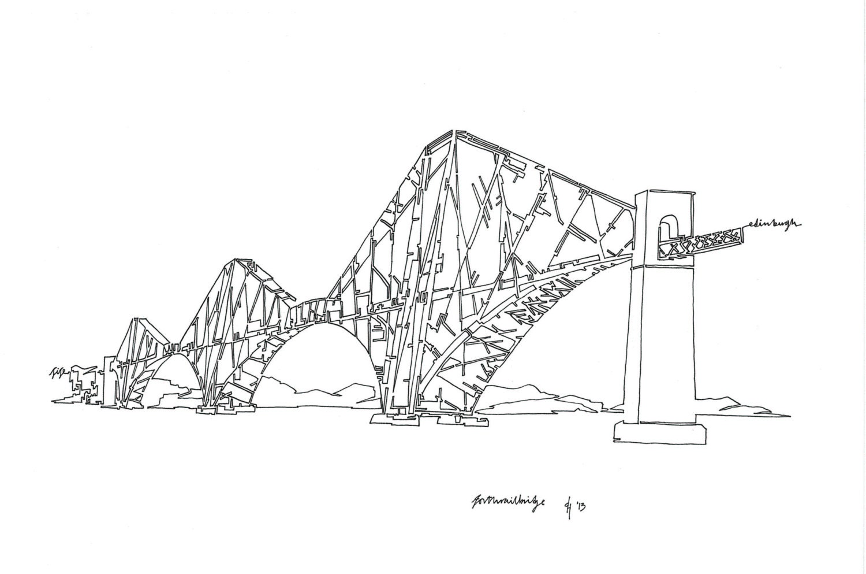 Line Drawing Etsy : Forth rail bridge edinburgh original continuous single line