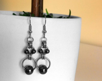 Black Bead Earrings, Stainless Steel Jewelry for Women, Simple Dangle Earrings, Gift Ideas for Girlfriend