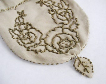 1920s Vintage Silk Purse Gold Beaded Handbag French Flowers