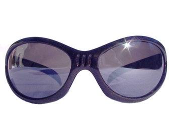 Black Glitter Wrap Around Sunglasses, 90s Vintage Fly Shades, Burning Man Goggle Glasses Unisex Sunglasses for Men and Women