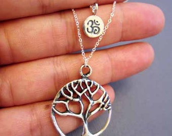 Tree of life Necklace, Silver Tree necklace, giving tree, tree of gondor, Om Jewelry, Ohm pendant necklace, silver necklace