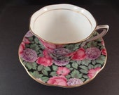 Very Rare Collectible English Rosina Bone China Teacup and Saucer Circa 1940's