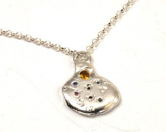 Droplets of Opulence: Color Splash Pendant Necklace